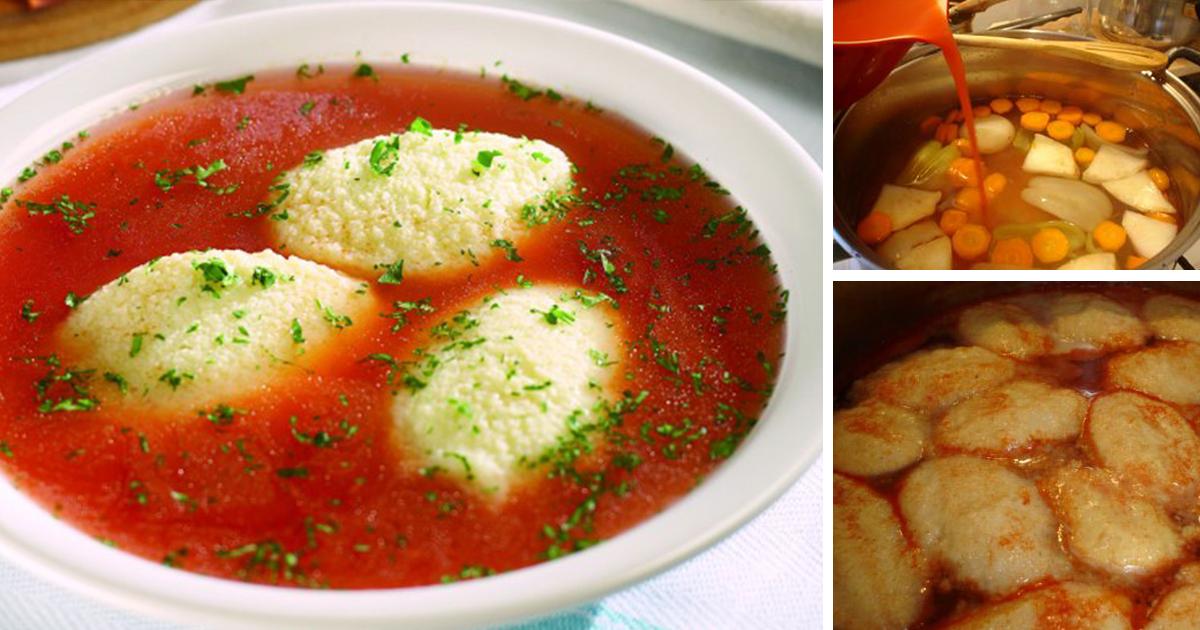 Supă de roșii cu găluște de post