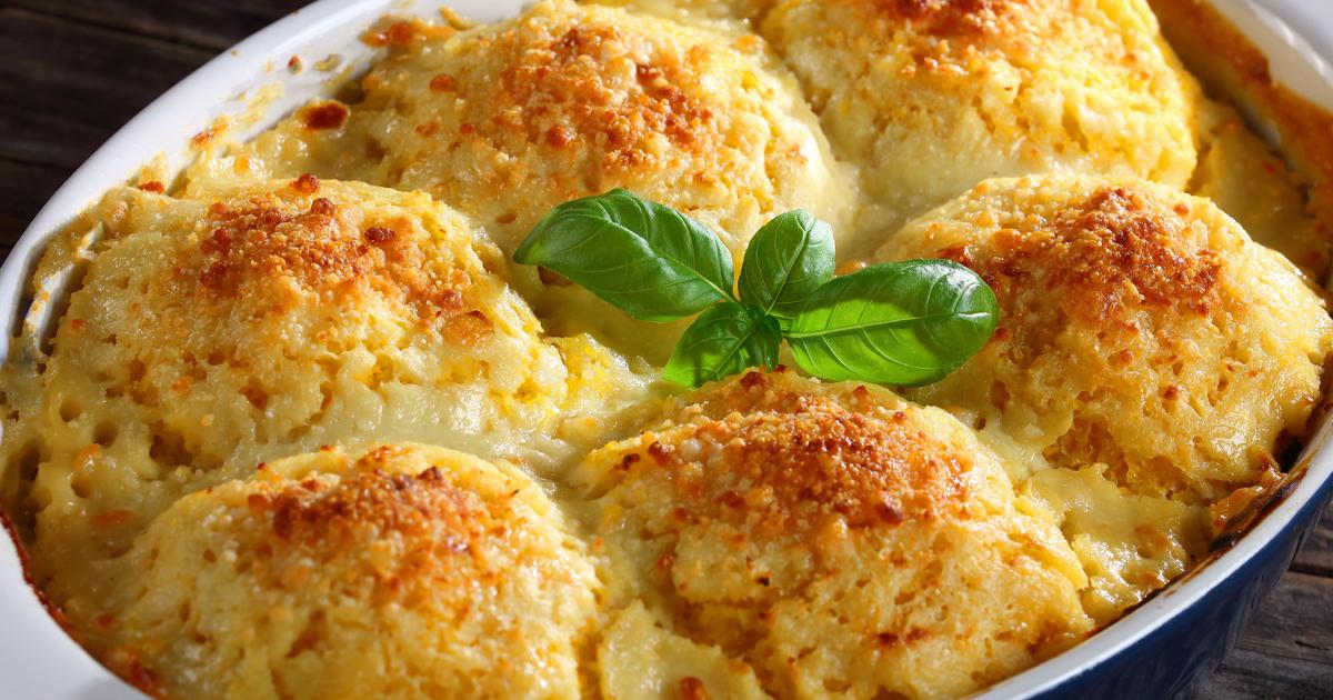 Găluște din cartofi cu ciuperci la cuptor